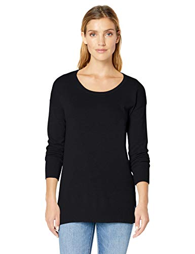 Black Top Sweater - Amazon Essentials Women's Lightweight Scoopneck Tunic Sweater, Black, Small