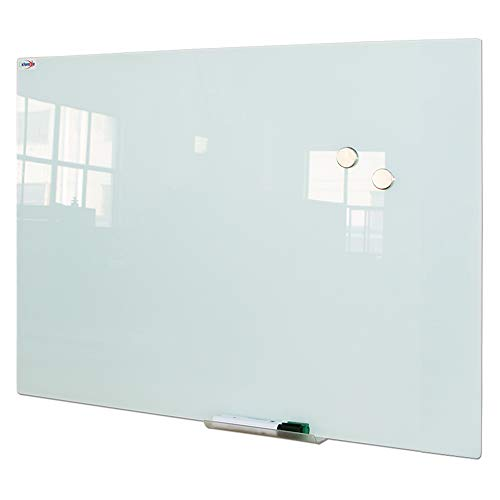 Magnetic Glass Dry Erase Board/Whiteboard, Wall Mounted Glass White Board, Frameless Glass Board with Aluminum Marker Tray, 48 x 48 Inch (120x120 cm)