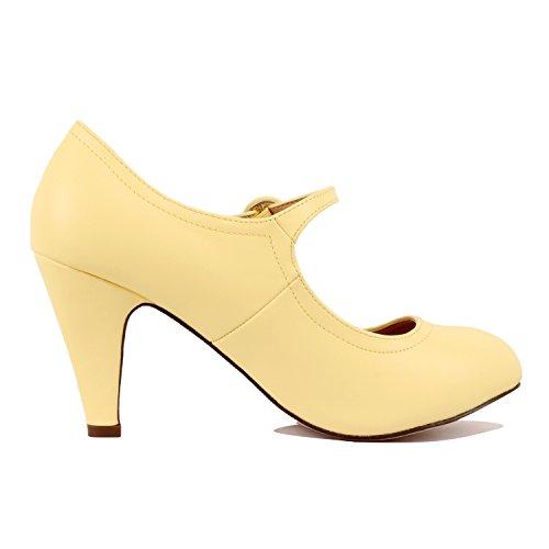 Chase & Chloe Kimmy-21 Women's Round Toe Pierced Mid Heel Mary Jane Style Dress Pumps (7 B(M) US, Lemon) -