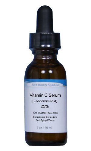 (1 oz) VITAMIN -C 25% Anti-Oxidant Skin Face Serum -Organic (L-Ascorbic Acid) plus Vegan Hyaluronic Acid –Professional Strength for Anti-Aging, Sun damage, Sun Spots & Even Skin Tone. Clear Serum.