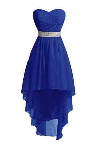 Brautjungfernkleider Schulterfrei Kurz Royal Kleider Blau Trägerlos Perlen Vorne Abendkleider Ballkleider Hinten Chiffon Schnürung Lang Hochzeit wH8UxWqX