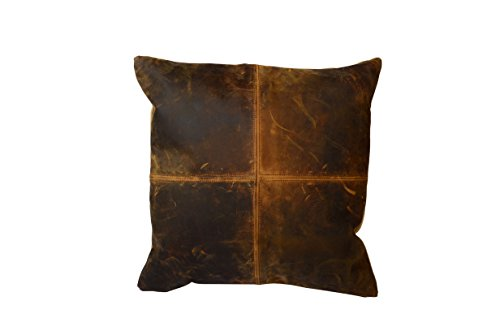 Priti Decorative Accent Throw Pillow Cover Genuine Leather Cushion Cover without Pillow Case Size - 18x18 Inch by (Dark Brown)