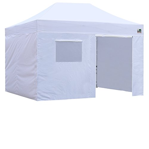 Eurmax 8×12 Pop up Canopy Instant Outdoor Party Tent Shade Gazebo with Enclosure 4 Sidewalls Walls White, 8×12