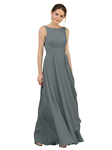 Alicepub A-Line Chiffon Bridesmaid Dress Long Party Evening Dresses Prom Gown Maxi, Steel Grey, US6