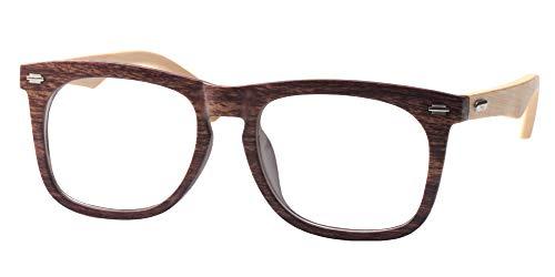 SOOLALA Cool Retro Style Quality Wood Bamboo Arm Custom Strengths Reading Glasses, ()