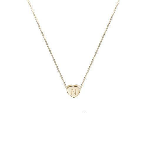 Tiny Gold Initial Heart Necklace-14K Gold Filled Handmade Dainty Personalized Letter N Heart Choker Necklace Gift for Women Kids Child Alphabet Necklace Jewelry (N)