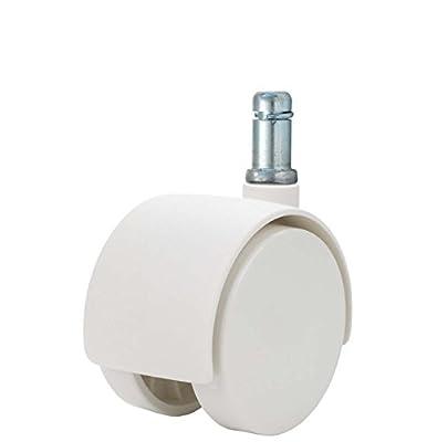 """Twin Wheel Caster Solutions TWHN-50N-G20-WH 2"""" Diameter Nylon Wheel Hooded Non-Brake Caster, 7/16"""" x 7/8"""" Grip Ring Stem, 110 lb Capacity Range"""