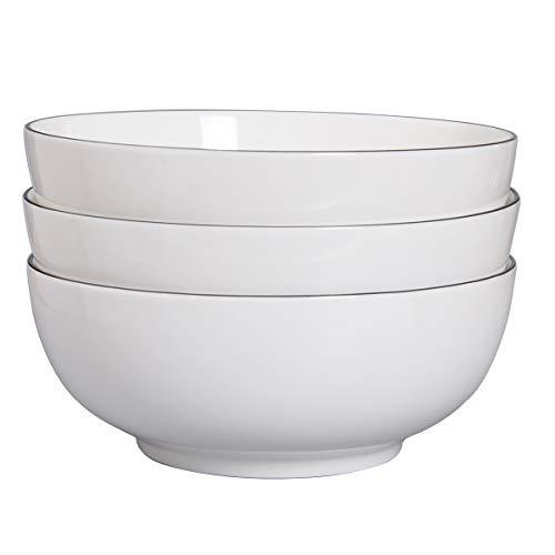 TGLBT 3 Packs Salad Bowls 55 Ounce Porcelain Serving Pasta Bowl Set,White, Stackable