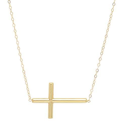 Pori Jewelers 14K Yellow Gold Sideways Cross Necklace on 14K Gold Cable Chain -18