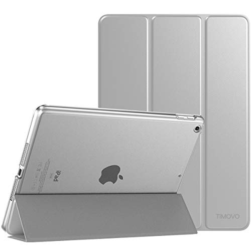 (TiMOVO Cover Compatible for iPad 9.7 2018/2017 Case, Smart Case Slim Translucent Frosted Back Protector with Auto Wake/Sleep Fit iPad 9.7-inch 2018 & 2017 iPad 5/6th Gen, Light Silver)