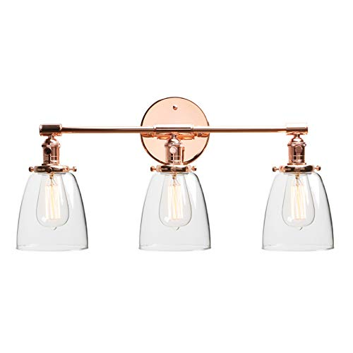 "Phansthy Industrial Wall Lamp with ON/Off Button, Triple Industrial Wall Sconce with Three 5.6"" Dome Clear Glass Canopy (Copper) ()"
