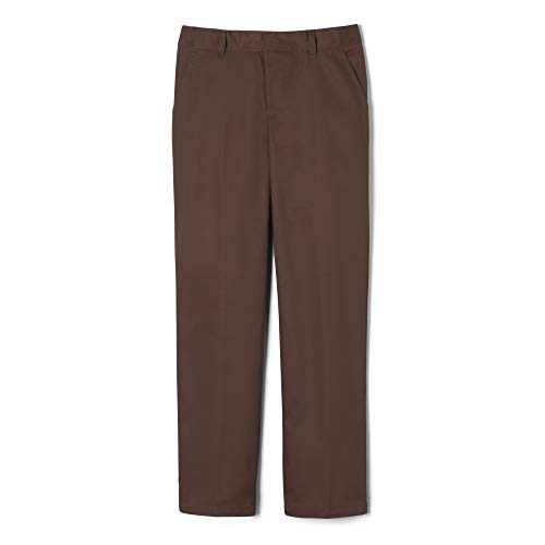 - French Toast Little Boys' Flat Front Double Knee Pant with Adjustable Waist, Brown, 6