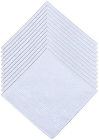 Men/'s White 100/% Cotton Handkerchiefs Hanky  Pocket Square 12 Pack 16 x 16