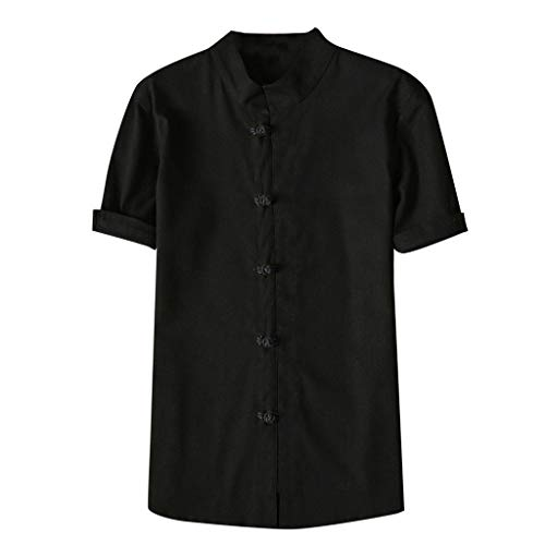 - TUSANG Mens Tees Fashion Autumn Winter Button Casual Linen and Cotton Short Sleeve Blouse Casual Comfy Tunic(Black,US-8/CN-L)