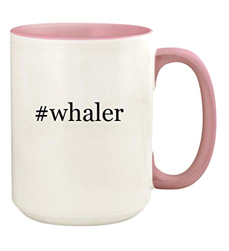 (#whaler - 15oz Hashtag Ceramic Colored Handle and Inside Coffee Mug Cup, Pink)
