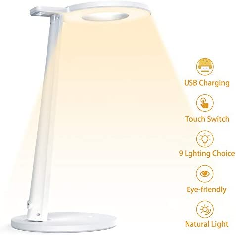 Tesecu LED Desk Lamp USB for Study Dorm Office Dimmable Eye-Caring 3 Lighting Modes 3 Brightness Levels, Sensitive Touch Control, with USB Charging Port, White