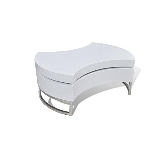 vidaXL Shape-Adjustable Coffee End Table Storage Side Table High Gloss White from vidaXL