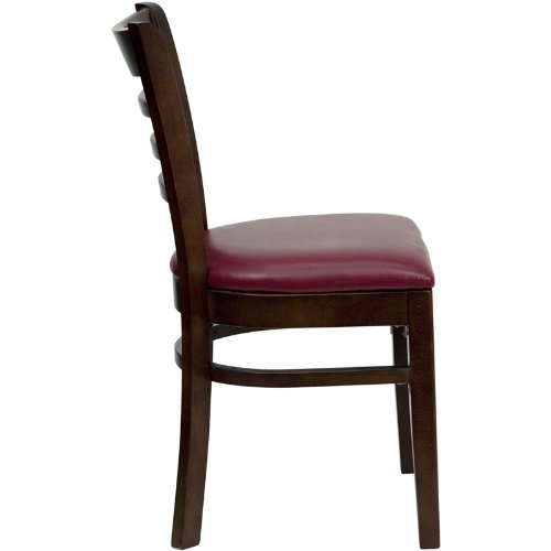 Flash Furniture HERCULES Series Ladder Back Walnut Wood Restaurant Chair - Burgundy Vinyl Seat