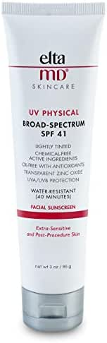 EltaMD UV Physical Tinted Facial Sunscreen Broad-Spectrum SPF 41, Water-Resistant, Oil-free, Dermatologist-Recommended Mineral-Based Zinc Oxide Formula, 3.0 oz