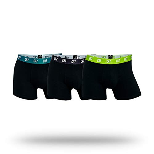 Cristiano Ronaldo CR7 Men's 3-Pack Trunk Cotton Stretch, Purple/Aqua/Green, Large