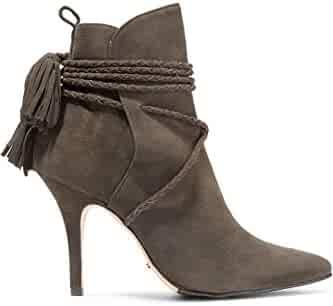 2ac989115807 SCHUTZ Fadhila Hot Coffee Braided Tasseled Lace-up Suede Ankle Pointed Boots