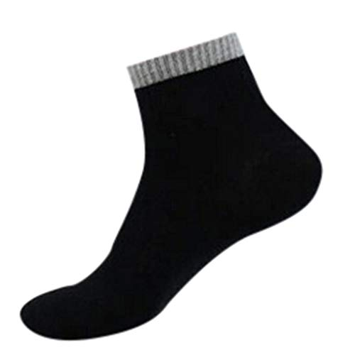 1Pair Thin High Ankle 100% Pure Cotton Socks LightWeight Comfort Soft Grip Diabetic (Black) by Levacy Sports & Outdoors