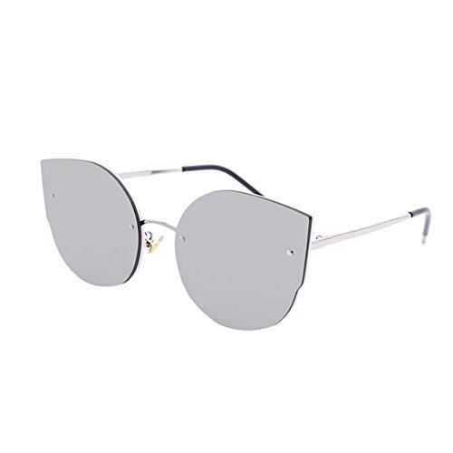 Alger sol de gato White frame personalidad gafas silver gafas cara mujer gran marco redonda de Ojo Frame Silver white Mercury de retro mercury qXxrYXS