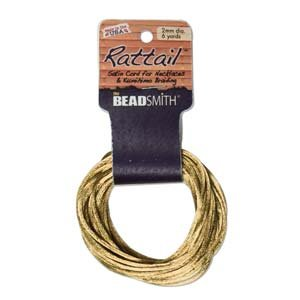 1mm Satin Rattail Braiding Cord Gold 6 Yards For Kumihimo and Craft
