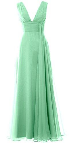 V Gown Bridesmaid Minze Chiffon Dress Neck Long Women Deep MACloth Simple Prom AxvqRwE