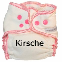 Sustainablebabyish Organic Bamboo Fleece Fitted Cloth Diaper - Medium - Kirsche