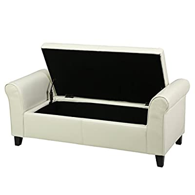 Great Deal Furniture Danbury Armed Storage Ottoman