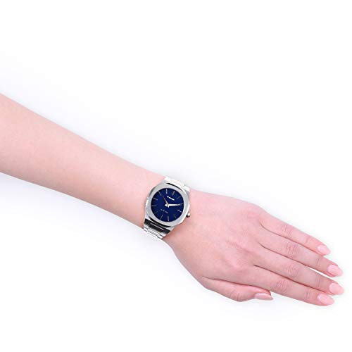 D1 Milano ultratunn armbandsur med rostfritt stålband silverfärger/blå 38 mm UTBU01