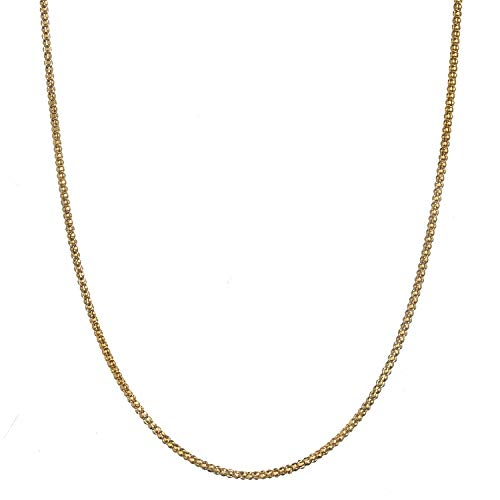 18K Gold Flashed Sterling Silver 2.3mm Italian Popcorn Chain Necklace - 16