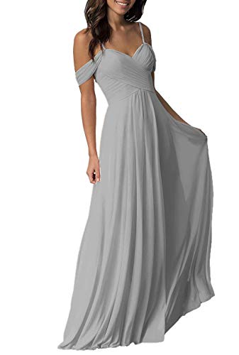 Women's Wedding Bridesmaid Dresses Long Off The Shoulder Chiffon Formal Evening Dress Silver Gray (For Women Dresses Bridesmaid)