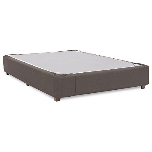 Linen Box Spring Cover - Howard Elliott 242-201S Platform Bed Conversion Kit & Boxspring Cover, Queen, Sterling Charcoal