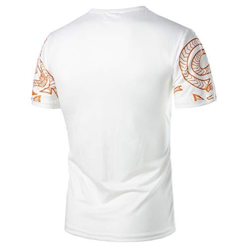 OrchidAmor 2019 Mens Summer Casual Fashion Printing Elastic Short Sleeve T-Shirt Tops Blouse White