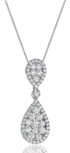 1.55CT Certified G/VS2 Pave Diamond Drop Pear Shape Pendant in 18K White Gold