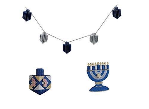 Hanukkah Decorations Set - Includes Menorah and Dreidel Glitter Window Decoration & Shimmering Dreidels on Wire