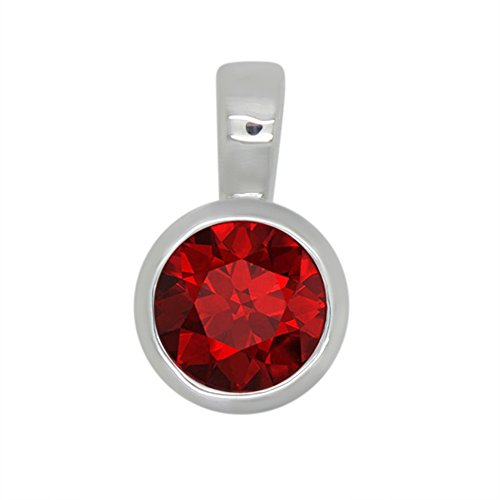OMEGA JEWELLERY 1.00 Ct Round Cut Simulated Red Ruby 925 Sterling Silver Bezel set Solitaire Pendant Without Chain ()