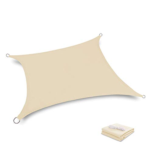 Tuosite Terylene Waterproof Sun Shade Sail UV Blocker Sunshade Patio Rectangle Knitted 220 GSM Block Fabric Pergola Carport Awning 10 x 13 in Color Beige