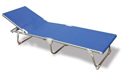 FORMA MARINE Sun Lounger, Beach Sunbed, Folding, Anodized, Aluminium Blue PVC Mesh, Model 'Pacific' PA1200B (Outdoor Aluminium Furniture Lounger Sun)
