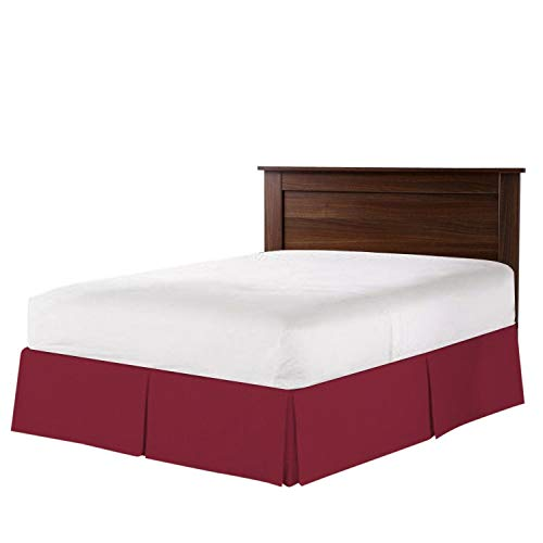 - Urban Bed Pleated Bed-Skirt Full Size - Burgundy Luxury Double Brushed 100% Microfiber, 9 Inch Tailored Drop