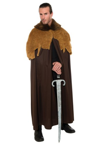 Rubie's Costume Deluxe Medieval Warrior Cloak With Faux Fur Trim, Brown, Standard Costume