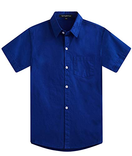 Spring&Gege Boys' Short Sleeve Solid Formal Cotton Twill Dress Shirts Royal Blue 7-8 Years