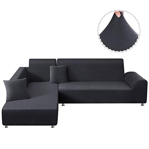 TAOCOCO Sectional Couch Covers 2pcs L Shape Sofa Covers Polyester Fabric Stretch Furniture Cover Pet Dog Sofa Slipcovers L-Type Flexible Sofa Cover 3 seat +3 seat (Lead Grey)