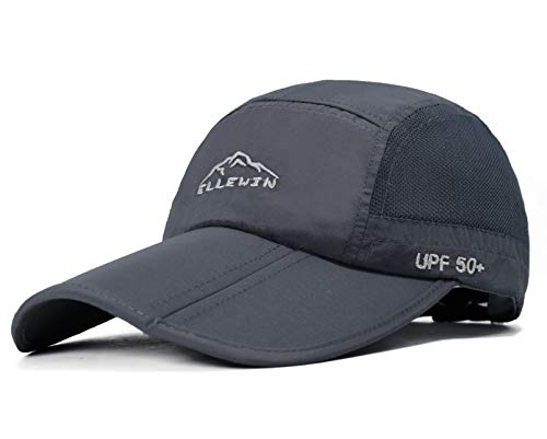 (ELLEWIN Baseball Cap Quick Dry Travel Hats UPF50+ Cooling Portable Sun Hats for Sports Golf Running Fishing Outdoor Research with Foldable Long Large Bill, A-grey, M-L-XL)