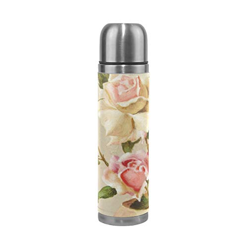 Coffee Thermos Bowl Of Roses Oil Cycling Vacuum Insulated Mens Thermos Flask Stainless Steel Water Bottles + Drink Cup Top + Leather Cover Fits Backpack Lunchbox 17oz / 500ml