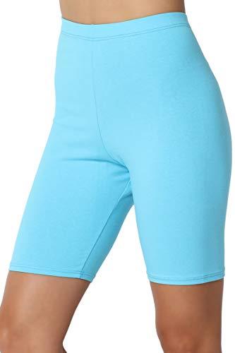 13b35f6ae4f981 TheMogan Women's Mid Thigh Cotton High Waist Active Short Leggings Aqua XL