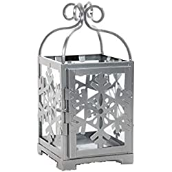 "Hosley Silver Metal Snowflake Lantern- 11"" High. Ideal Gift for Festivities, Parties, Weddings, Aromatherapy and spa Settings P2"
