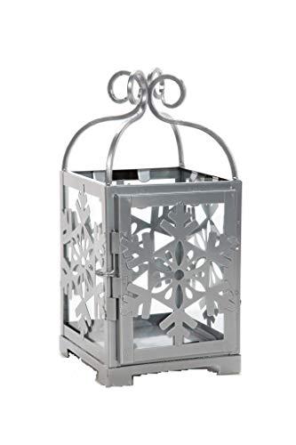 Hosley Silver Metal Snowflake Lantern- 11
